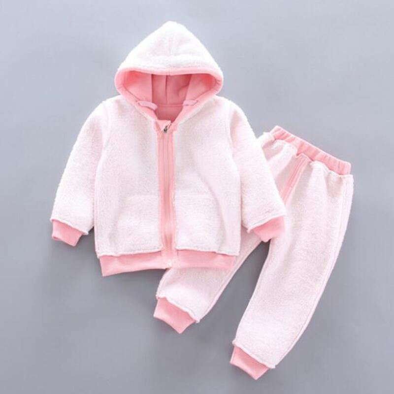 Thick Warm Girls Clothing Set Winter Plush Cotton Outfit For Baby Hoodies Jacket Pants Kids Casual Suit Toddler Boy Wearing 3
