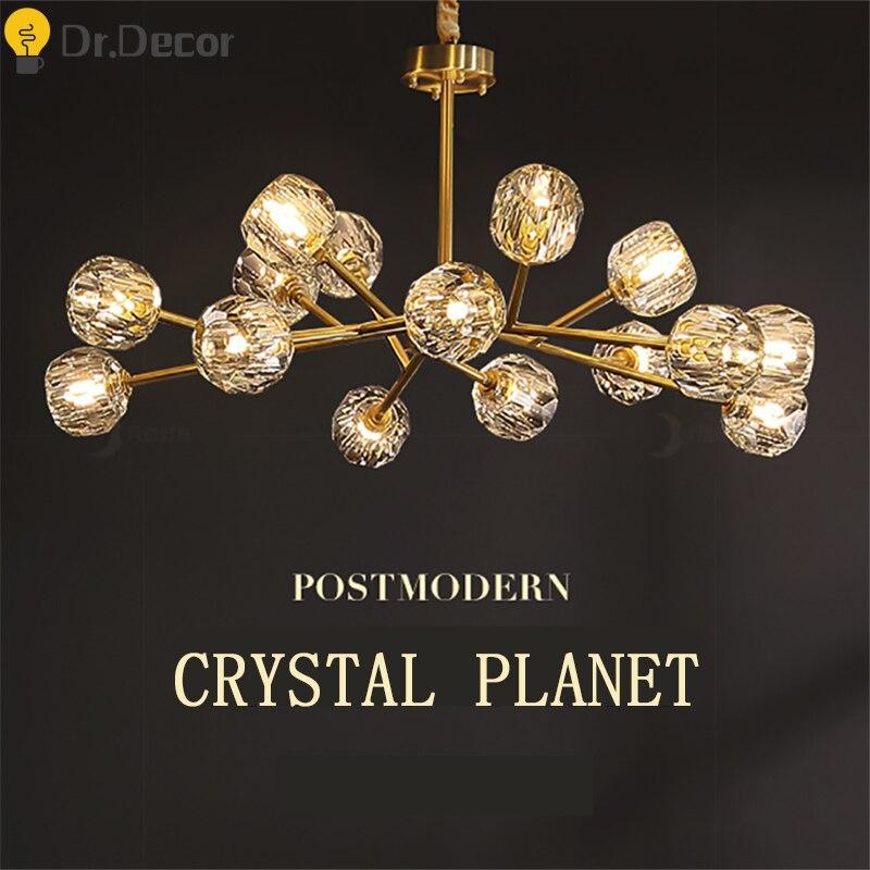 Post-modern Gold Crystal Glass Chandelier Lighting American Copper Living Room Bedroom Hanging Lamp Hotel Hall Decor Chandeliers