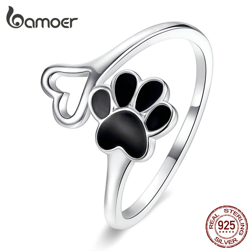 Bamoer Authentic Sterling Silver 925 Black Enamel Dog Paw Heart Adjustable Finger Rings For Women  Jewelry Accessories SCR584