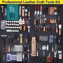 Kit d'outils d'artisanat du cuir, 59 pièces, couture à la main, poinçon de sculpture, selle de travail, accessoires d'artisanat du cuir, outils pour la maison