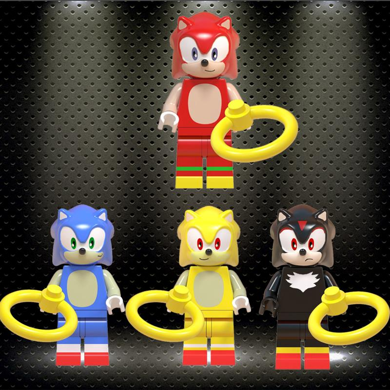 Ly Super Sonic Shadow Anime Sonic Knuckles Action Figures Doll Toy Christmas Gifts Building Blocks Toys Children Gift WM6043