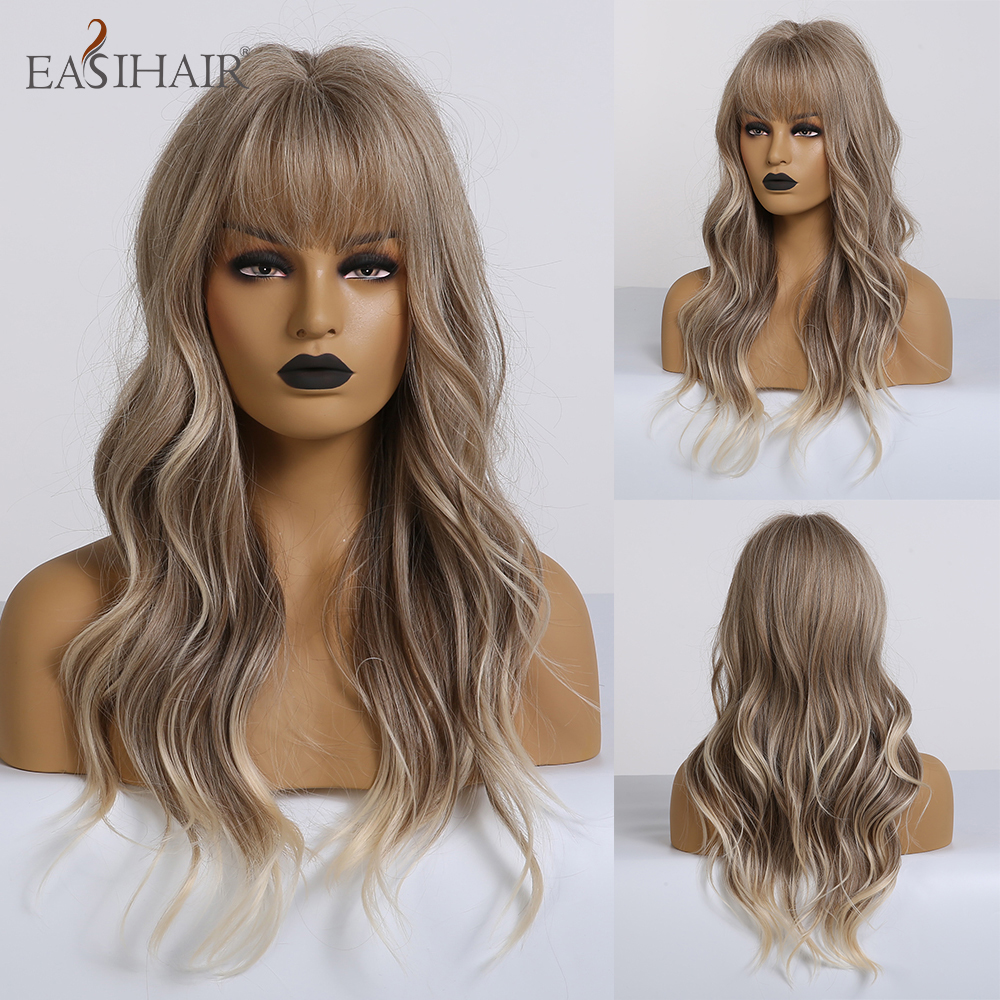EASIHAIR Long Light Brown To Blonde Omber Synthetic Wigs For Women African American Wave Cosplay Wigs Heat Resistant Fiber Hair