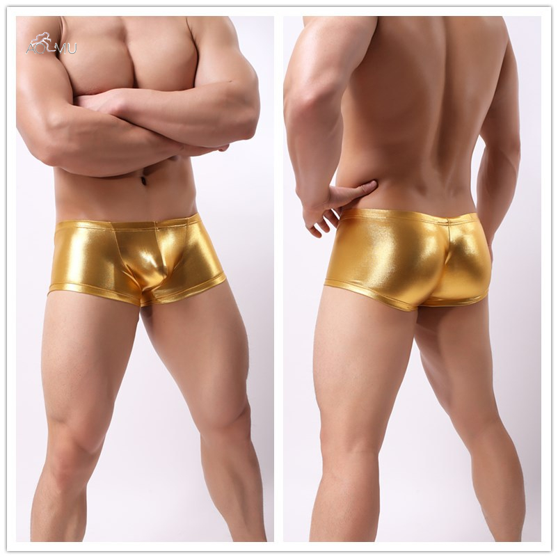AOMU Senson Men Leather Boxers Bright Gold/Black/Yellow/Green Faux Leather Sexy Panties Performance Underwear Boxer Homme