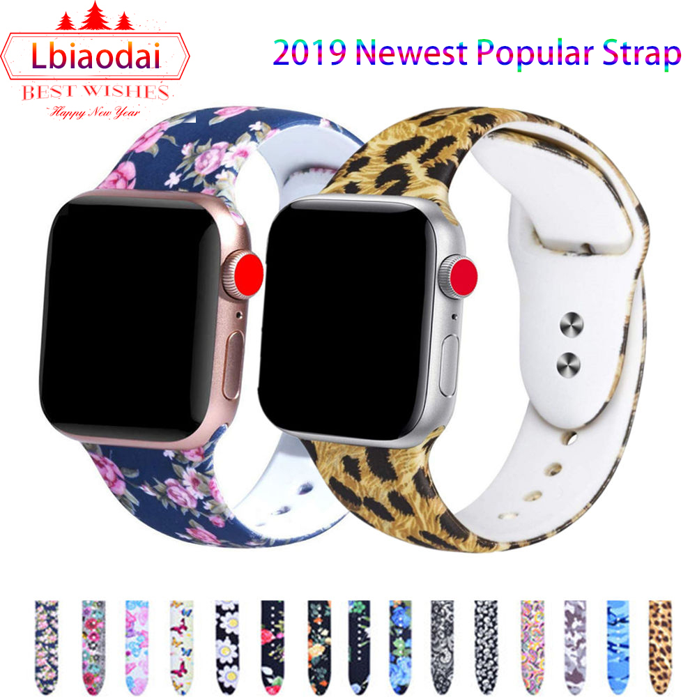 Printed Strap For Apple Watch 4 5 Band 44 Mm 40mm IWatch 42mm 38mm Silicone Sport Bracelet Strap Apple Watch 4 3 2 1 Series 38