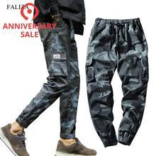 FALIZA 2019 Spring Mens Joggers Pants Camo Cargo Pants Men Jogger Harem Pants Camouflage Streetwear Pockets Trousers Men 7XL