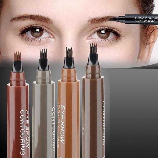 Makeup Fine Sketch Liquid Eyebrow Pen Waterproof Brow 4 Fork Tip Cosmetic Art Tint Eye Brow Pencil Microblading Tattoo Eyebrows