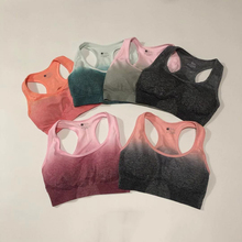 2019 New Ombre Seamless Sports Bra For Fitness Yoga Racerback Sport Bra Top With Removable Pad Push Up Gym Bra Active Wear цена