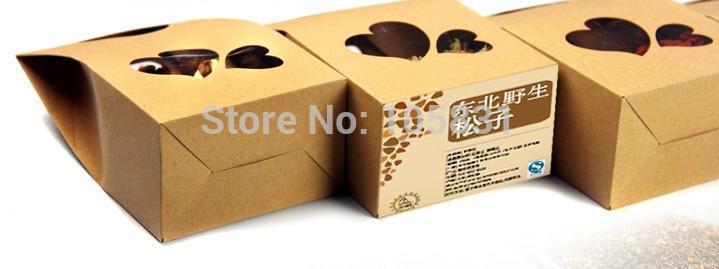 50X boîte de papier kraft écologique 10*15.5cm + 6cm avec fenêtre coeur tenez les faveurs de mariage de poche de nourriture peuvent personnaliser l'impression de logo - 5