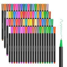 צבעי מים סמני Fineliner צבע עט סט 80 צבעים 0.4mm סקיצה ציור עטים נקבובי בסדר נקודת צביעה סמן תמיכה