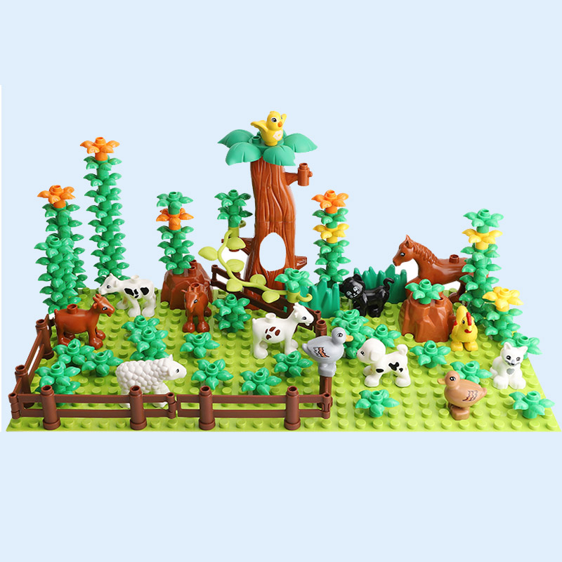 Large Diy Building Blocks Farm Animal Building Blocks Set Accessories Compatible With Duploed Bricks Toys For Children Gift