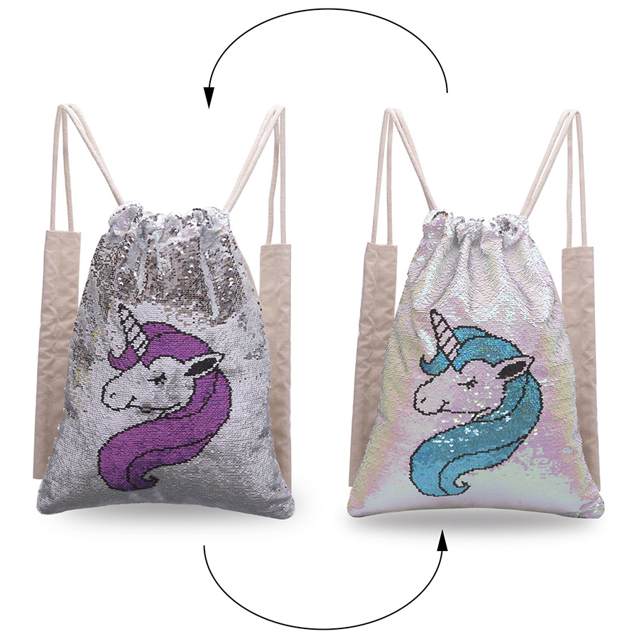 Sequins Unicorn Drawstring Backpack School Shoes Change Bag Mermaid  Double-Sideddiscolor Travel Sports Outdoor Shoulder Bag
