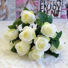 1 букет из 9 искусственных шелковых роз, искусственные розы, цветок высокого качества «сделай сам», украшение для свадьбы, дома, вечерние, цве...