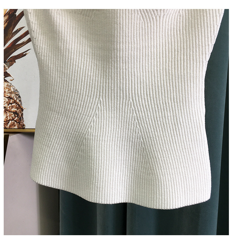 H5e50606ce1cd44fb8a26c45bac28ee24o 2020 New Women Summer Sexy Square Collar Knitted T Shirts Pure Color Women Short Sleeve Slim T Shirt s For Women White Tees