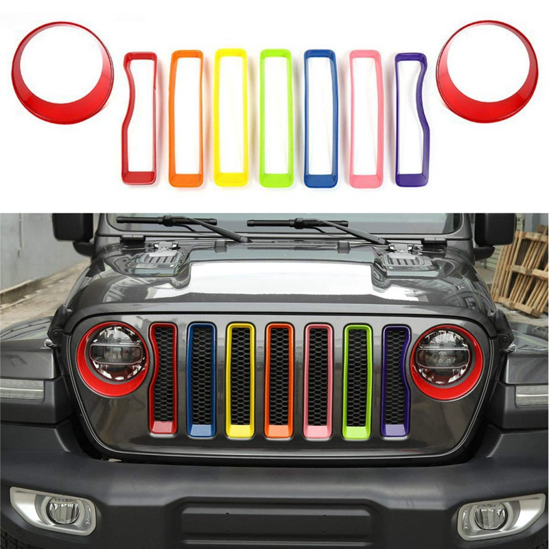 Front Grill Inserts & Headlight Cover Kit for 2018-2019 Jeep Wrangler JL & Unlimited Sport/Sports Car Accessories