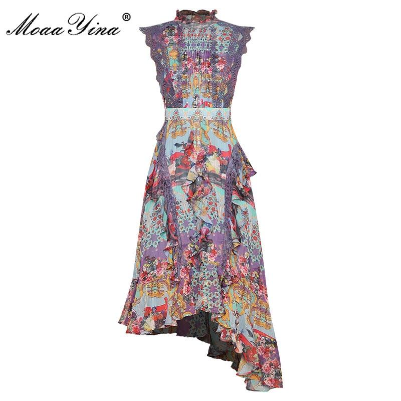 MoaaYina Mode Designer kleid Sommer frauen Kleid Stehkragen Multicolor Print Rüschen Perlen Vintage Asymmetrische Kleider