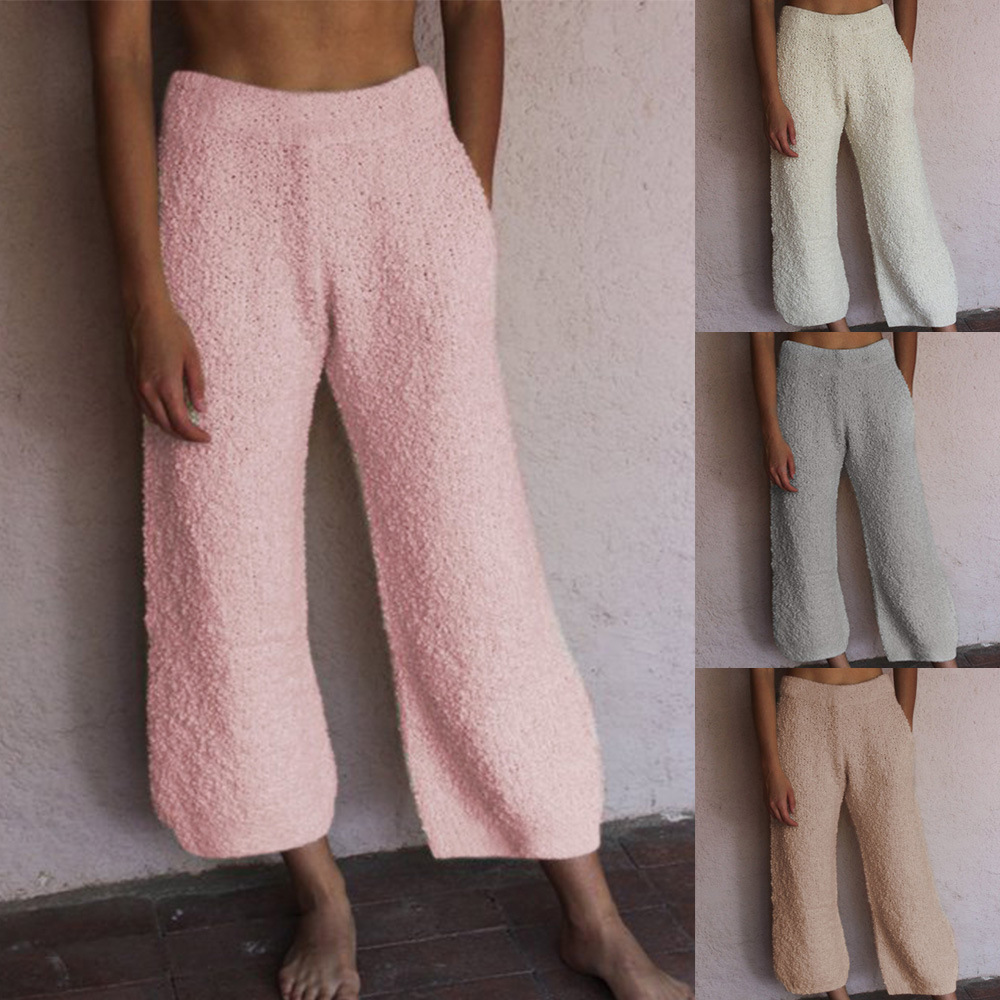 Loose Casual Straight Plush Capri Pants Women Home Wear Grey Pink Calf-Length Elastic Waist Trousers Warm Sleepwear Pant Winter