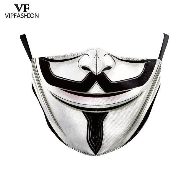 VIP FASHION Funny Pattem Print Grimace Ghost Skeleton Half Face Mask Reusable Protective Dustproof bacteria proof Flu Mouth Mask 3