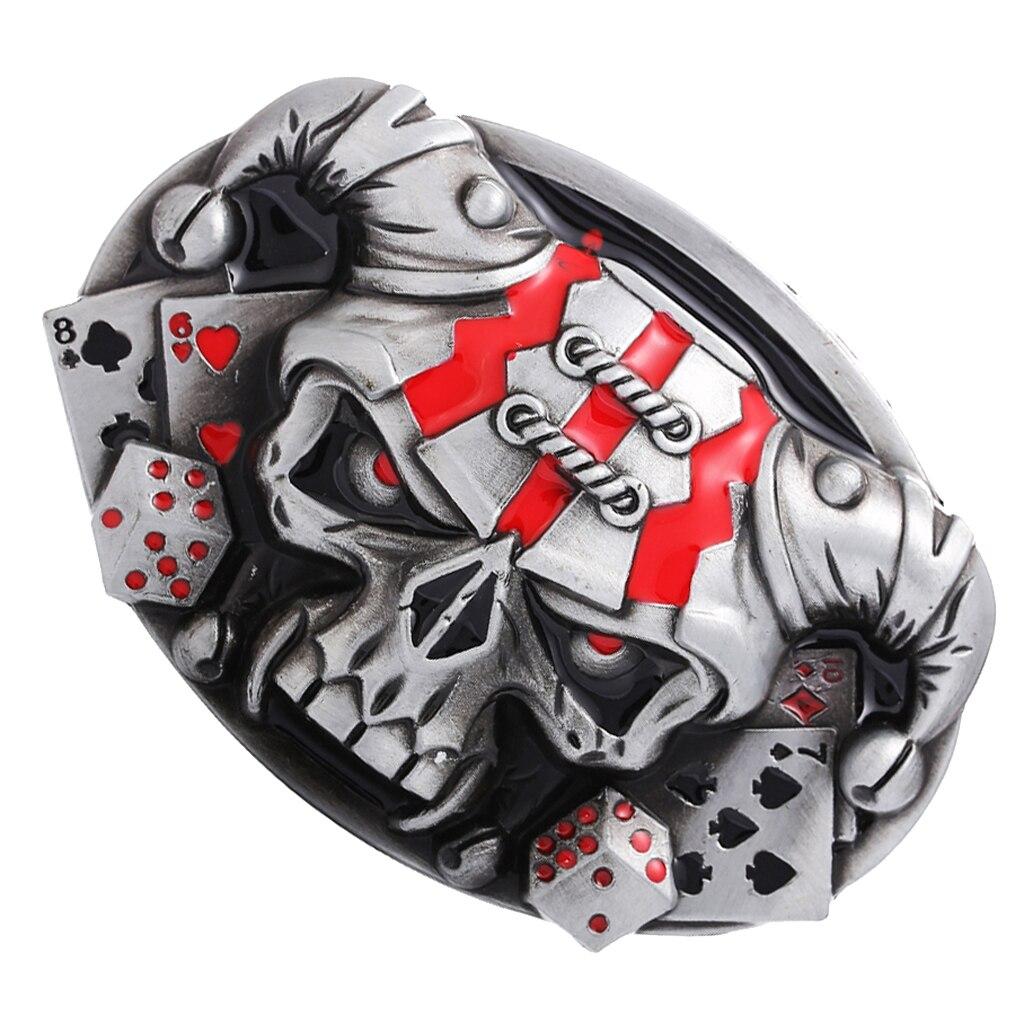 Vintage Western Belt Buckle 3D Skull Head Cowboy Punk Costume Jewelry Fashion Vintage Western Antique Silver Tone  Belt Buckle