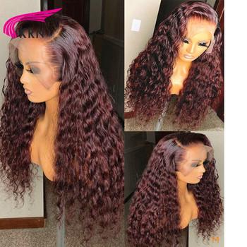KRN kolor ombre curly 13X6 koronkowa peruka na przód wstępnie oskubane z dzieckiem włosy koronkowe peruki dla kobiet Remy włosy 180 gęstość brazylijski włosy tanie i dobre opinie Długi Kręcone Koronki przodu peruk Ludzki włos Pół maszyny wykonane i pół ręcznie wiązanej Ciemniejszy kolor tylko