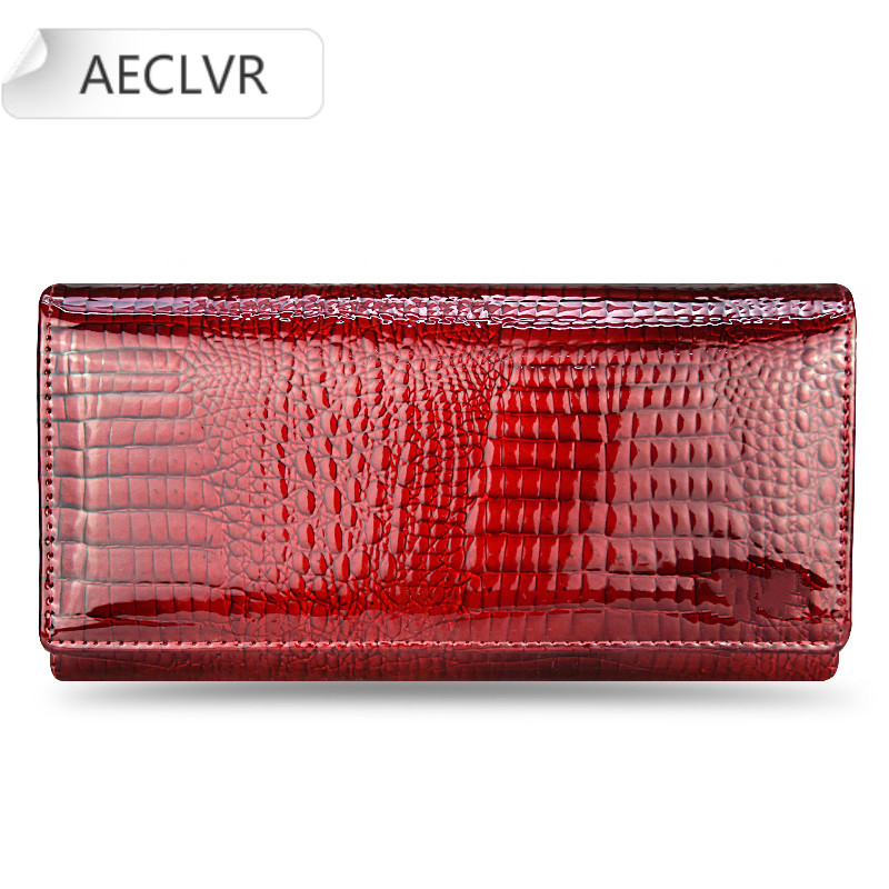 Wallet purse Genuine Leather Women Wallets Fallow Long Ladies Double Zipper Wallet Clutch Bag Design Red Purse Crocodile Purses image