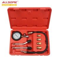 ALLSOME Pro Benzin Gas Motor Zylinder Compression Tester Öl Manometer Kit Motor Auto HT2767