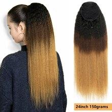 MRSHAIR афро курчавые прямые волосы с кулиской хвост натуральные человеческие волосы 1B #27 # T1B/4/27 # Омбре медово-коричневые клипсы Ins хвост 100 грам...