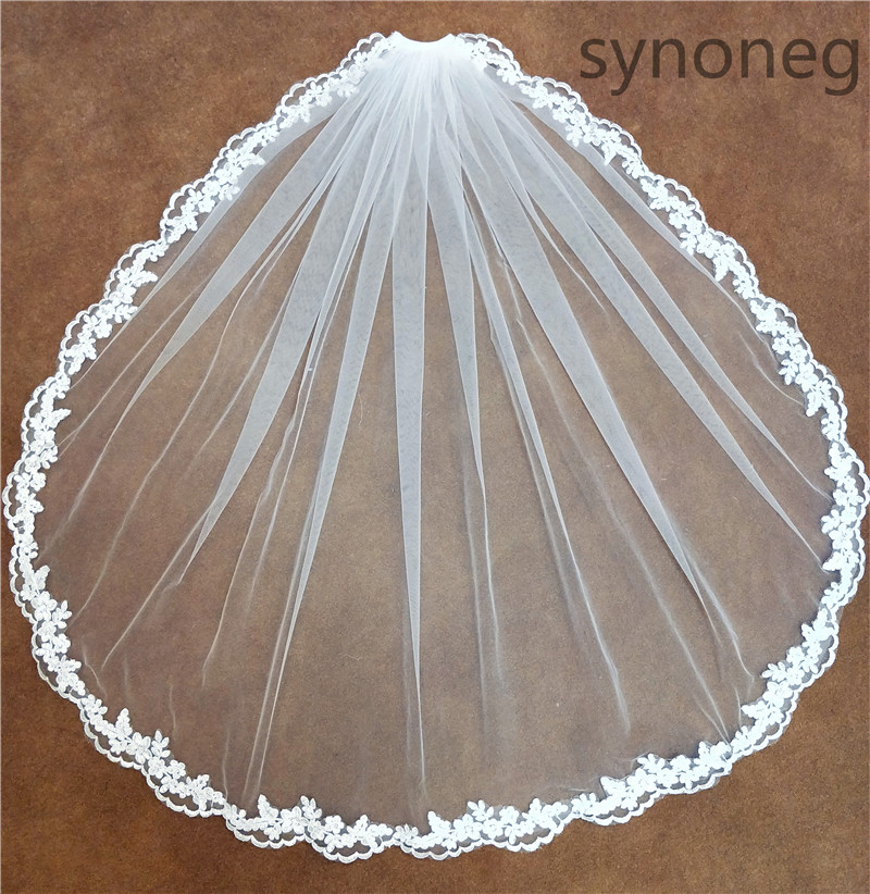 Real Photo Romantic White Ivory Short Wedding Veils With Comb Fingertip Bridal Veil Wedding Decoration Accessories Veil