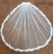 Real Photo Romantic White Ivory Short Wedding Veils with Comb Fingertip Bridal Veil Wedding Decoration Accessories Veil(China)