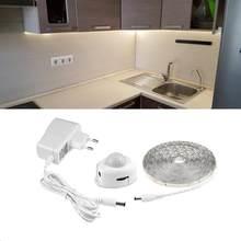 Fita led pir sem fio com sensor de movimento, de cozinha, dc12v, ue, luz noturna, para armário de cozinha, quarto, luminária led