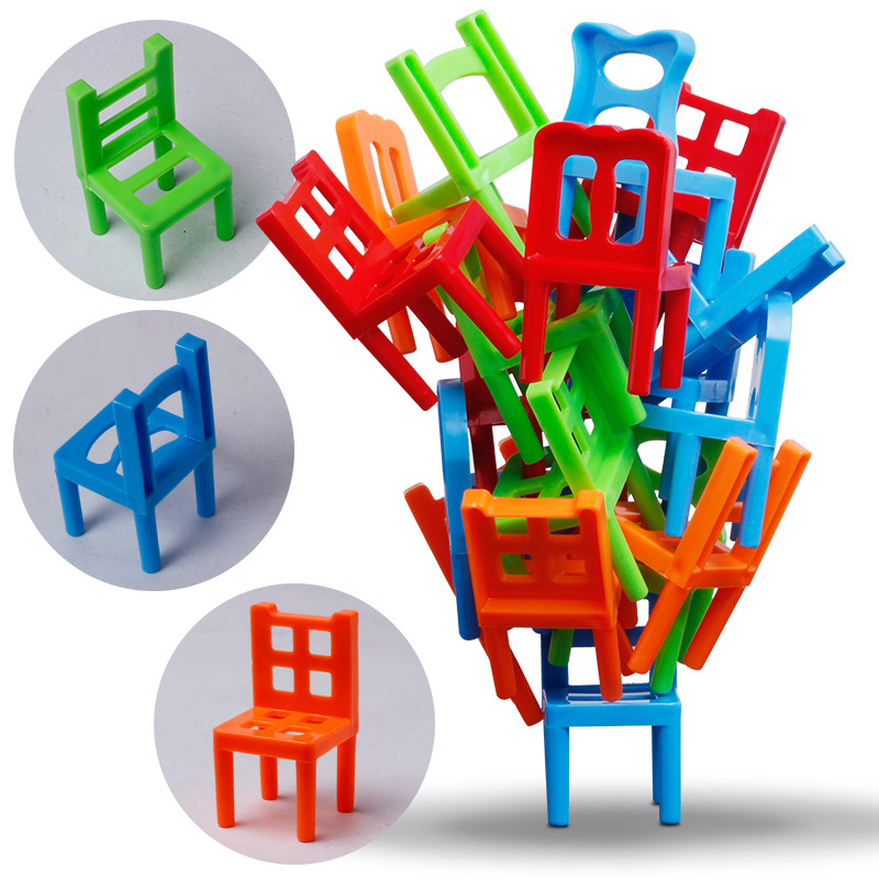12pcs Mini Chair Balance Blocks Toy Plastic Assembly Blocks Stacking Chairs Kids Educational Family Game Balancing Training Toy