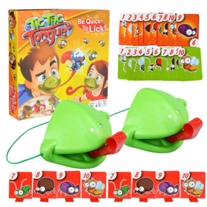 Frog Mouth Take Card Tongue Tic-Tac Chameleon Tongue Funny Board Game For Family Party Toy Be Quick To Lick Cards Toy Set