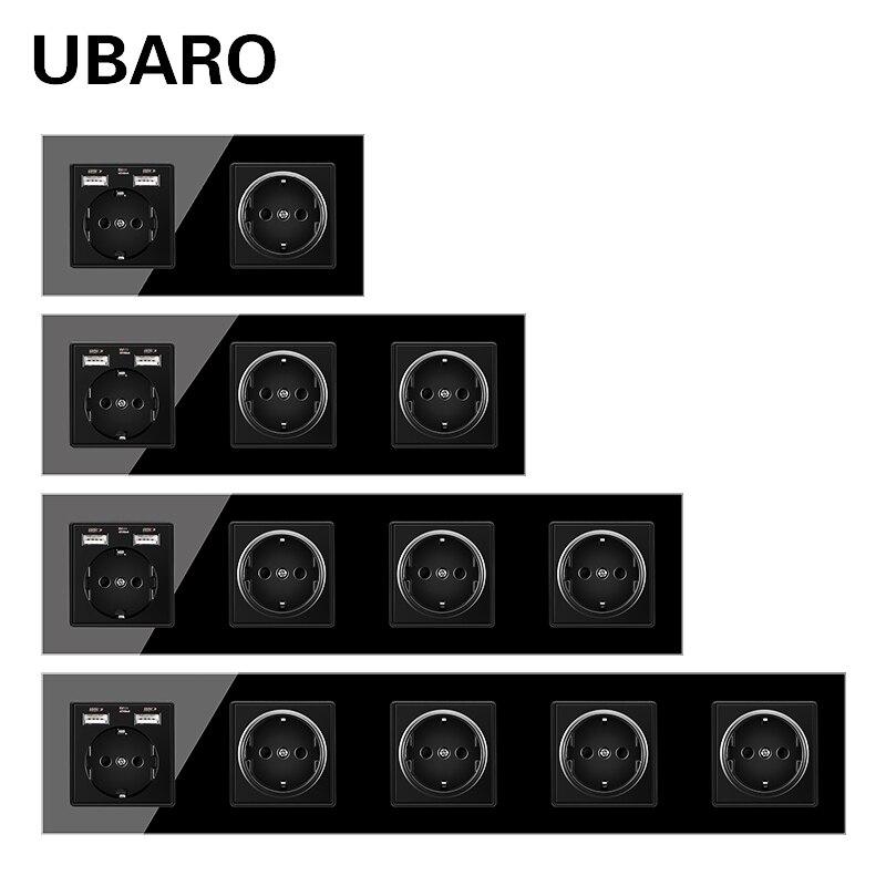 UBARO Standard allemand 16A cristal verre panneau mur POP prise de courant Steckdose Stopcontact prise prises prise de courant AC100-250V