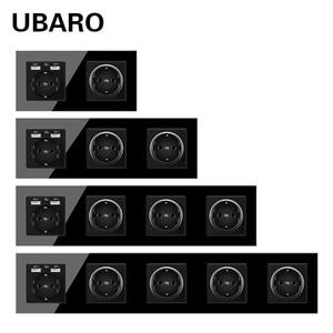UBARO German Standard 16A Crystal Glass Panel Wall Socket Power Steckdose Stopcontact Plug Sockets Home Outlet AC100-250V