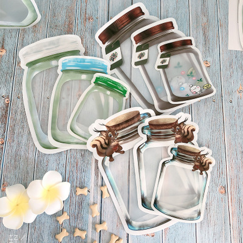 Mason Jar Bottles Ziplock Bag Zip Lock Plastic Bags Food Storage Container Reusable Snacks Packing Sealed Kitchen Organizer