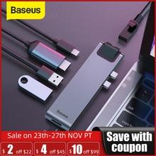 Baseus USB C HUB USB HUB na USB 3.0 Adapter HDMI dla MacBook Pro Air HUB Thunderbolt 3 Dock RJ45 USB Splitter podwójny typ C HUB