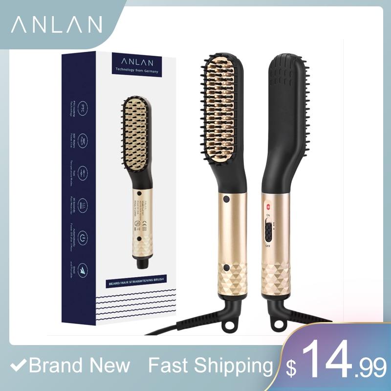 ANLAN Multifunctional Men's Hair Comb Beard Brush Ceramic Electric Beard Hair Straightening Comb Quick Hair Styler EU US Plug