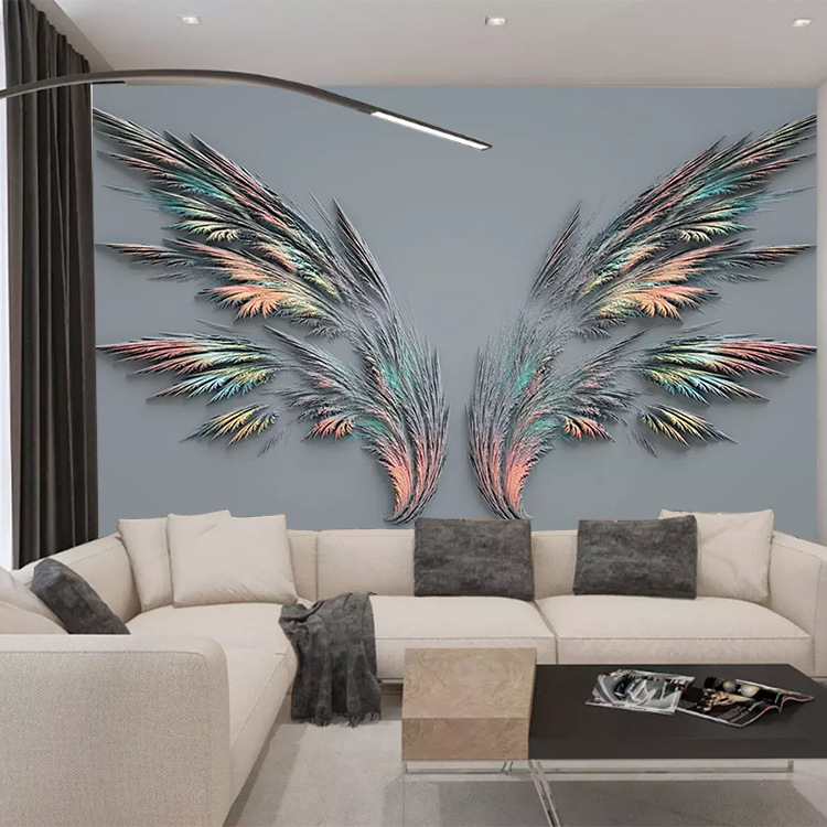 3D Feather Wings Mural Seamless Coffee Shop Bar Live Decoration Wall Cloth Bedroom Nonwoven Fabric Wallpaper
