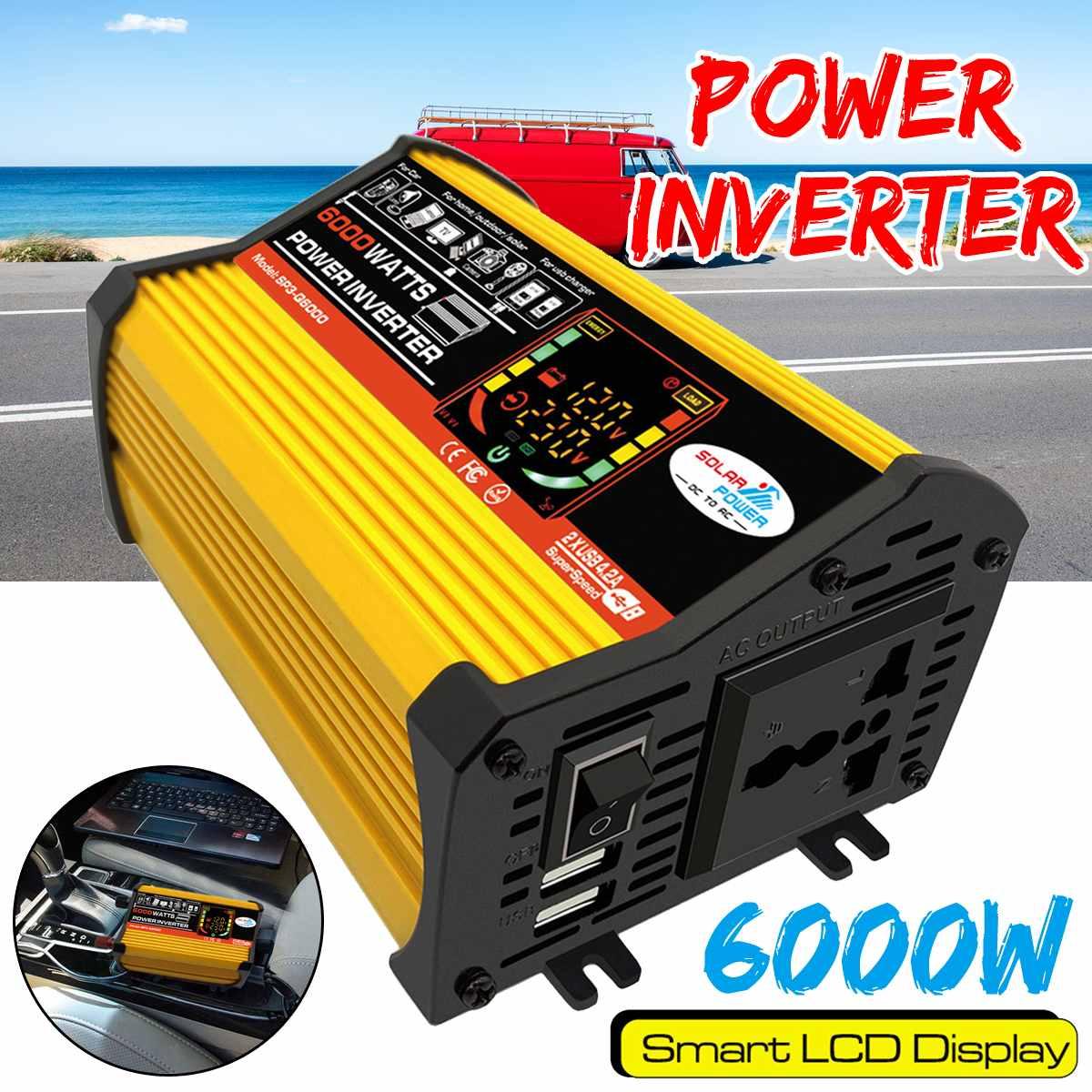 6000 Вт 12 В светодиодный экран автомобильная лампа модифицированный синусоидальный трансформатор напряжения двойной USB 12 В до 220 В 110 В инверт...