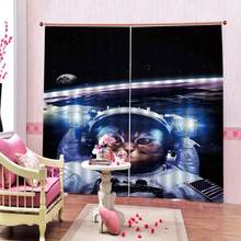 Cat Curtains Funny Astronaut Cat Above Earth in Outer Space Explorer Kitty Living Room Bedroom Blackout curtains(China)