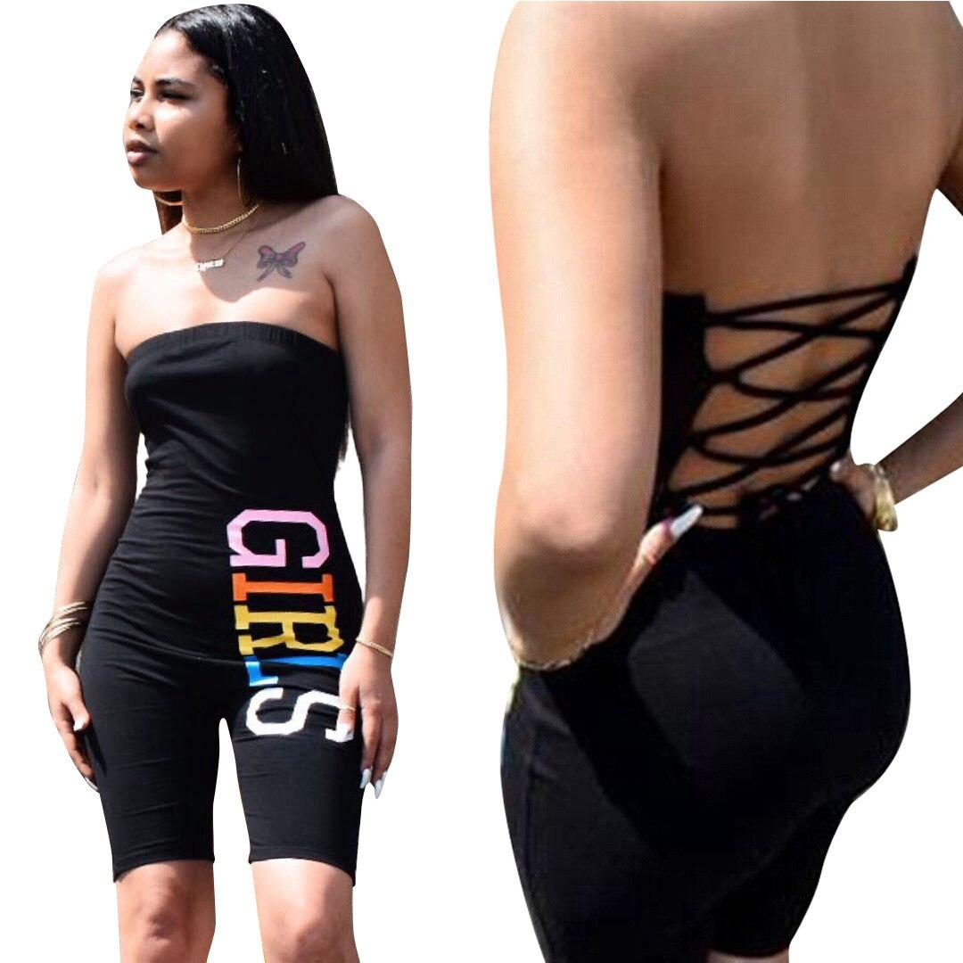 Модный женский черный сексуальный бандаж комбинезон со шнуровкой комбинезон обтягивающий боди с надписью сексуальный костюм
