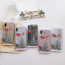Christmas tree liquid quicksand phone case for iphone x lot xr xs max 8 7 6 6s plus transparent cover gifts for family friends