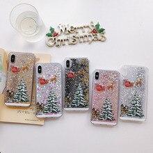 شجرة عيد الميلاد السائل الرمال المتحركة جراب هاتف آيفون x مجموعة xr xs ماكس 8 7 6 6s زائد غطاء شفاف هدايا لأصدقائك الأسرة