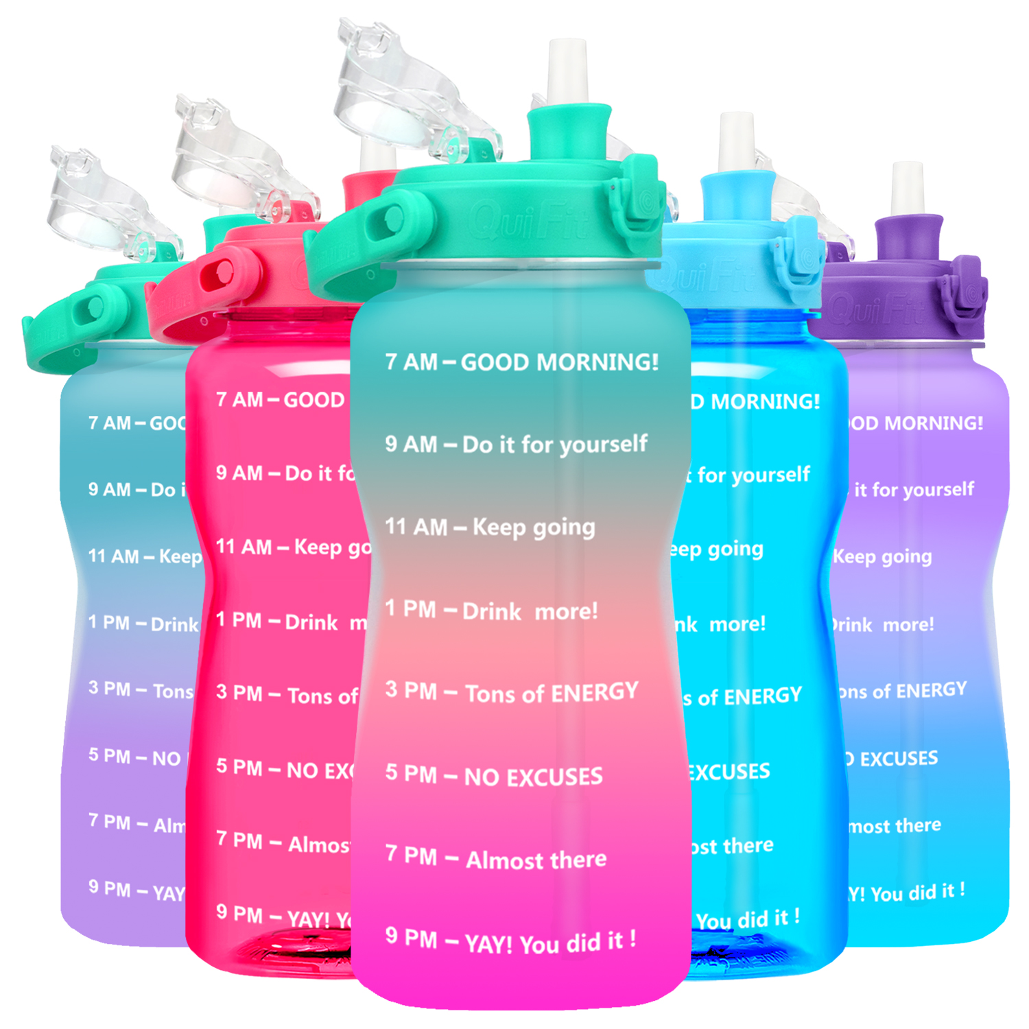 Quifit Gallon Water Bottle 3.8 & 2 Litre Large Capacity Tritan BPA Free Outdoor Motivational with Time Marker Fitness Jugs