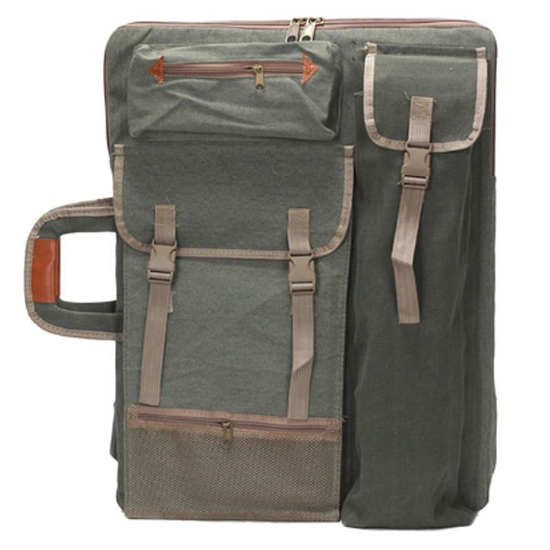 Art Portfolio Bag Case Backpack Drawing Board Shoulder Bag With Zipper Shoulder Straps For Artist Painter Students Artwork Green