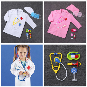 Children Birthday Gift Medical Uniform Hospital Kids Boys Doctor Girls Nurse Jacket Gown Cosplay Costumes Halloween Carnival