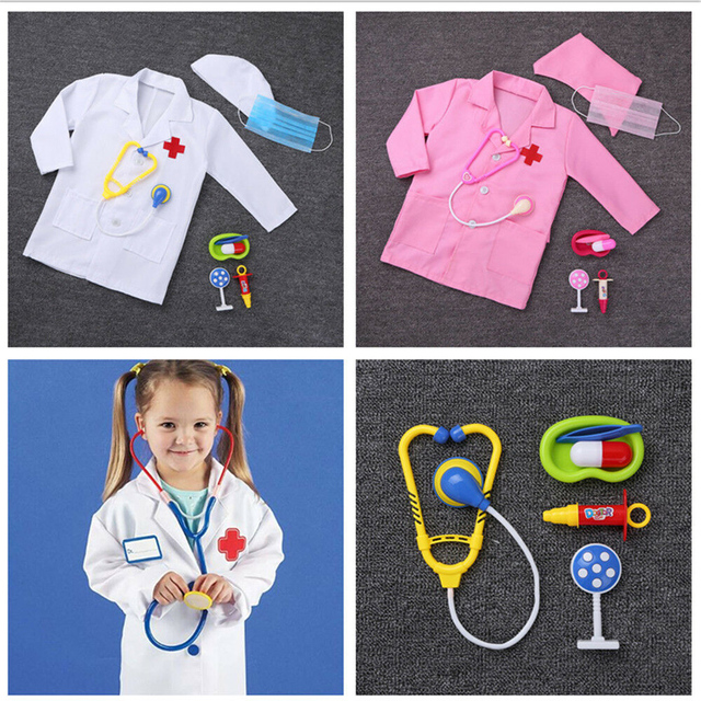 Children Birthday Gift Medical Uniform Hospital Kids Boys Doctor Girls Nurse Jacket Gown Cosplay Costumes Halloween Carnival