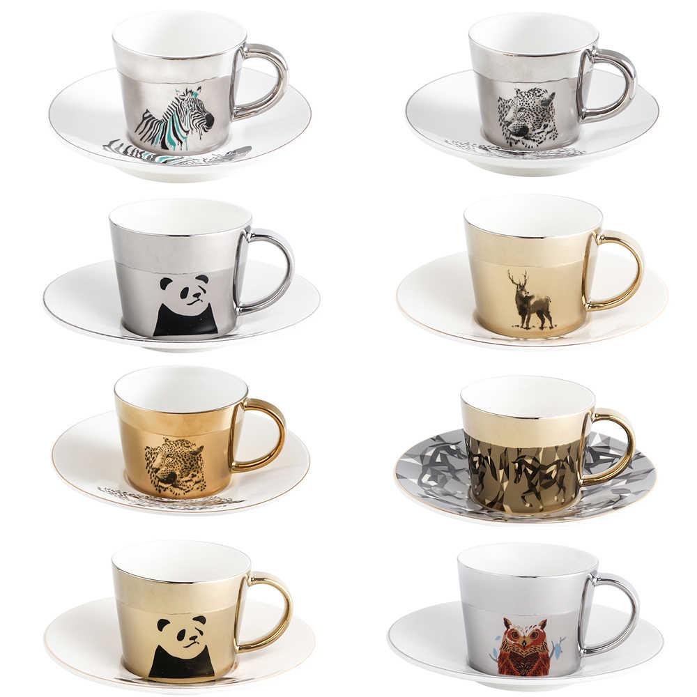 Creative Coffee Mug With Tray Cup Plating Mirror Reflection Cup Mug Ceramic Coffee Cup And Saucer Set Travel Stirrer Funny Mugs Mugs Aliexpress