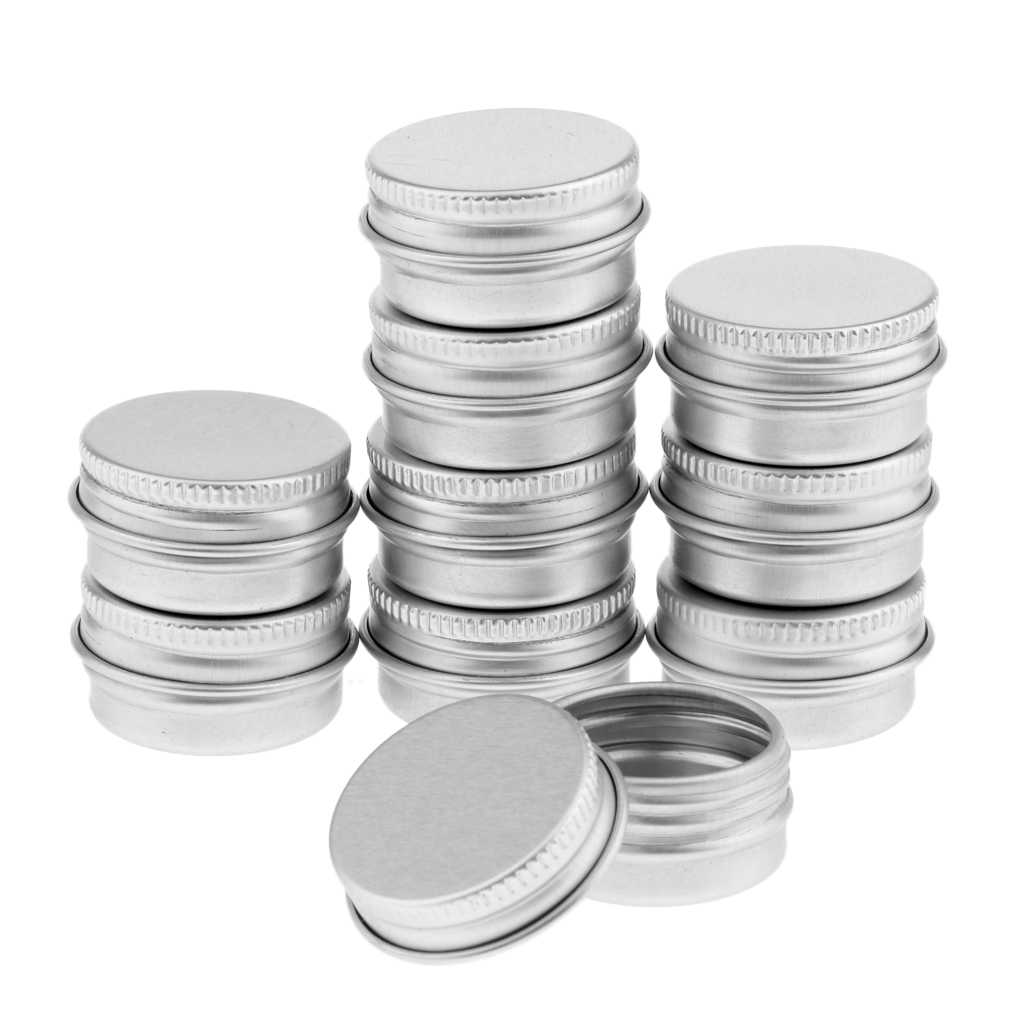10Pcs/Lot Mini Portable Empty Aluminum Tins Cans with Screw Lids Cosmetics Sample Packing Container Jar Top Round 5g