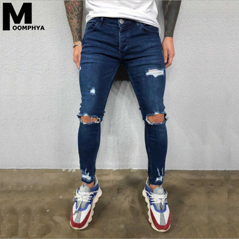2020 New Ripped Jeans Men With Holes Denim Pants Skinny Jeans Men Slim Fit Men Jeans Streetwear Biker Jeans
