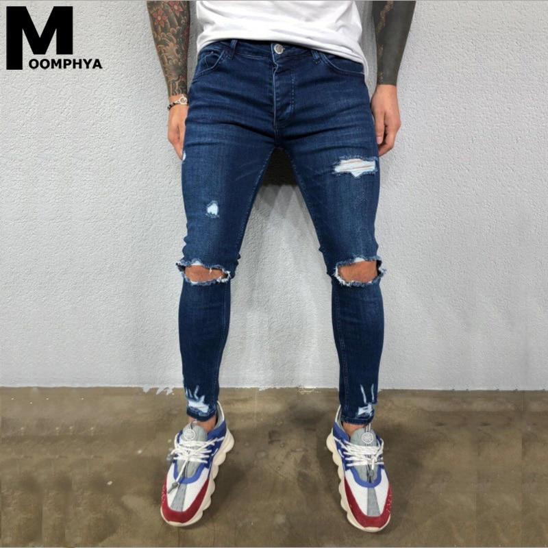 2020 New Ripped Jeans Men With Holes Denim Pants Skinny Jeans Men Slim Fit Men Jeans Streetwear Biker Jeans